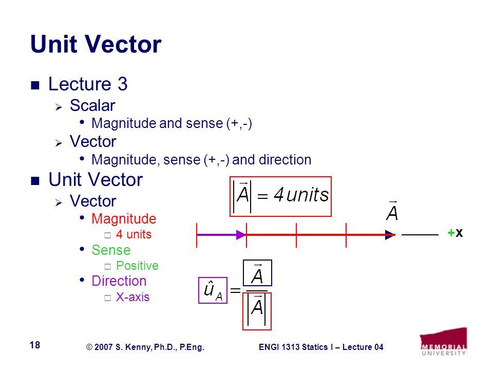 ENGI 1313 Statics I – Lecture 04© 2007 S. Kenny, Ph.D., P.Eng. 18 Unit Vector Lecture 3  Scalar Magnitude and sense (+,-)  Vector Magnitude, sense (