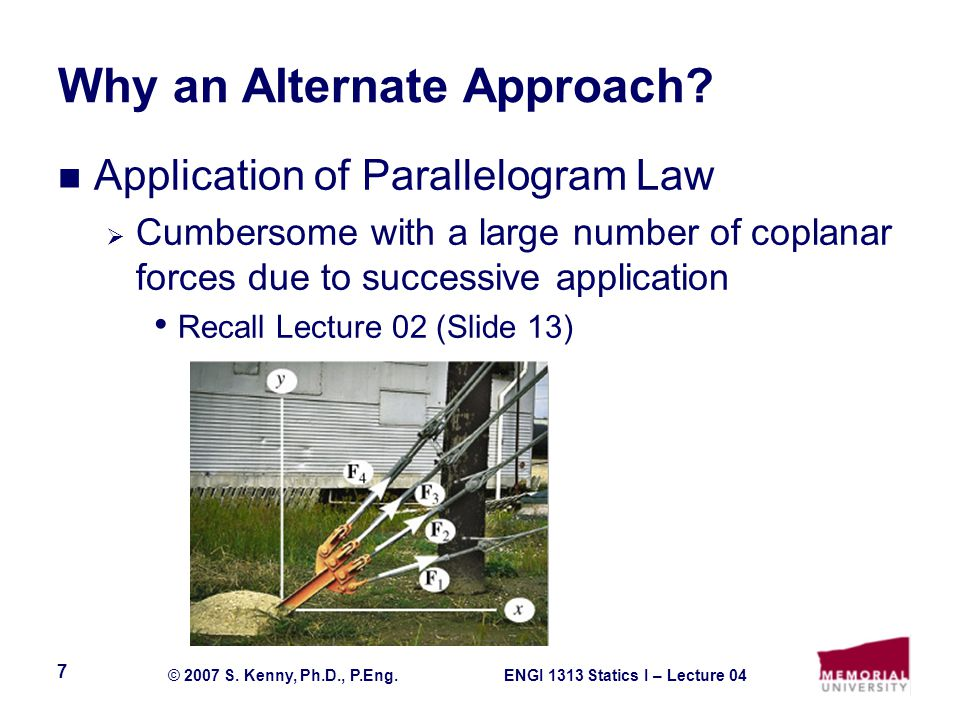 ENGI 1313 Statics I – Lecture 04© 2007 S. Kenny, Ph.D., P.Eng. 7 Why an Alternate Approach? Application of Parallelogram Law  Cumbersome with a large