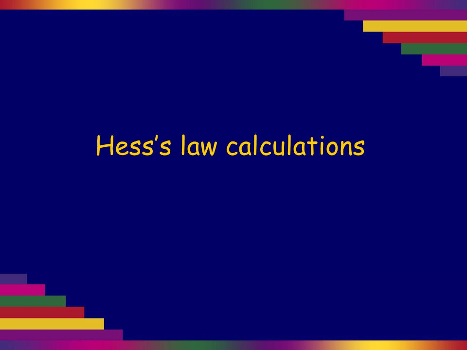 Hess's law calculations