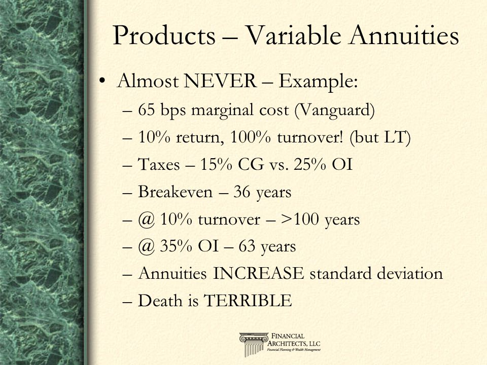 Products – Variable Annuities Almost NEVER – Example: –65 bps marginal cost (Vanguard) –10% return, 100% turnover.