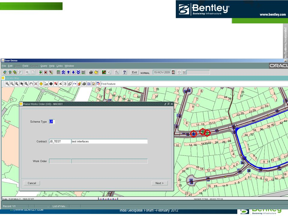 © 2012 Bentley Systems, Incorporated 25 | WWW.BENTLEY.COM India Geospatial Forum –February 2012 Select Multiple Work Requests and Create a Work Order from the Map