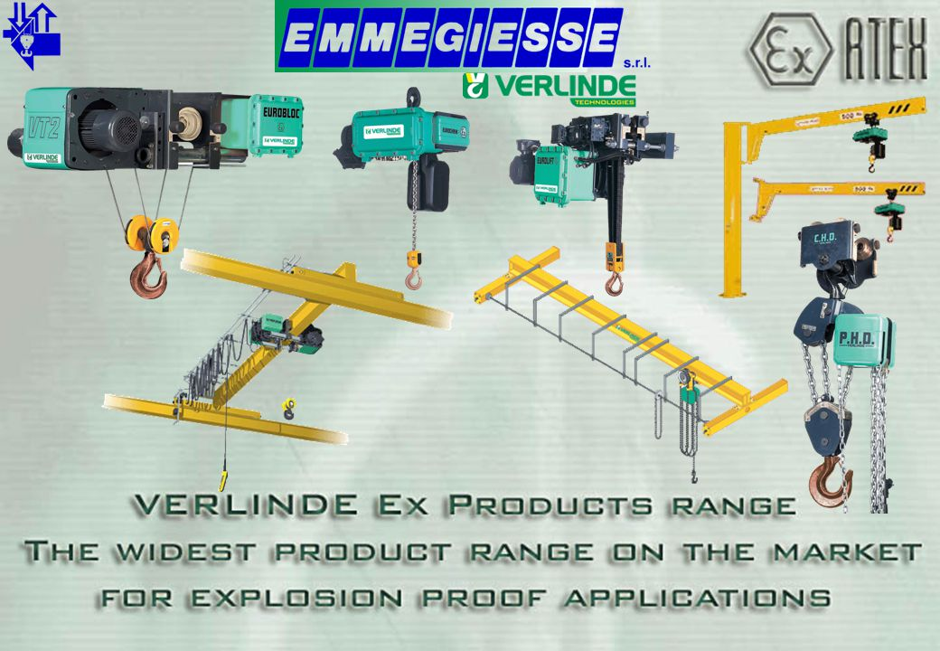 MANUAL SPARK PROOF CRANES Top running & under running cranes Span up to 16 meters All movements with hand chain ePHR hand chain block Modern design with eVP end carriages - With bronze wheels & wheel drop brackets - Same connections as std VP to secure easy crane manufacturing Capacity up to 10 tonnes MANUAL SPARK PROOF CRANES www.emmegiesse.com