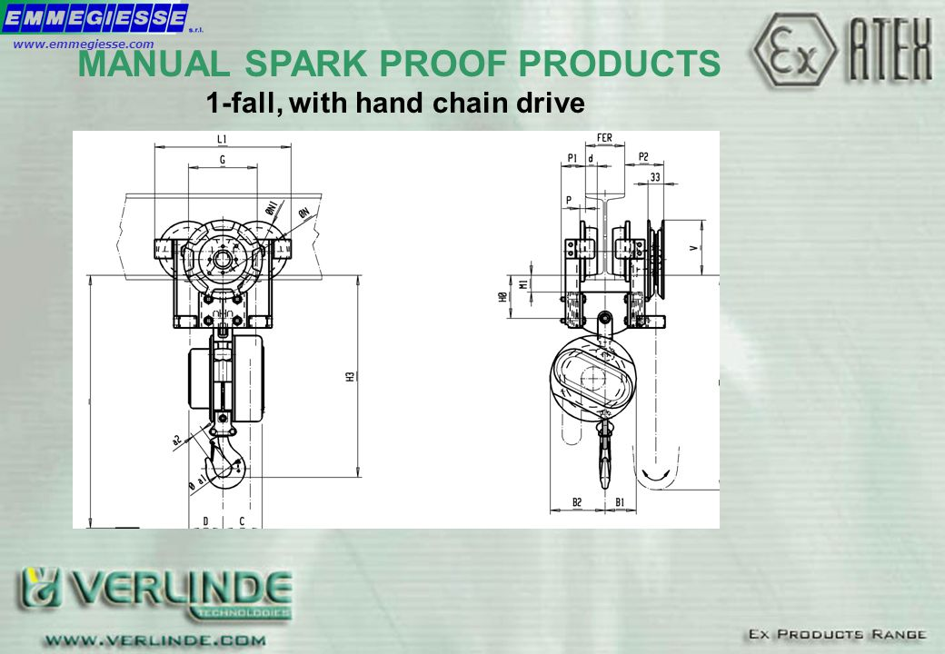 MANUAL SPARK PROOF PRODUCTS 1-fall, with hand chain drive MANUAL SPARK PROOF PRODUCTS www.emmegiesse.com