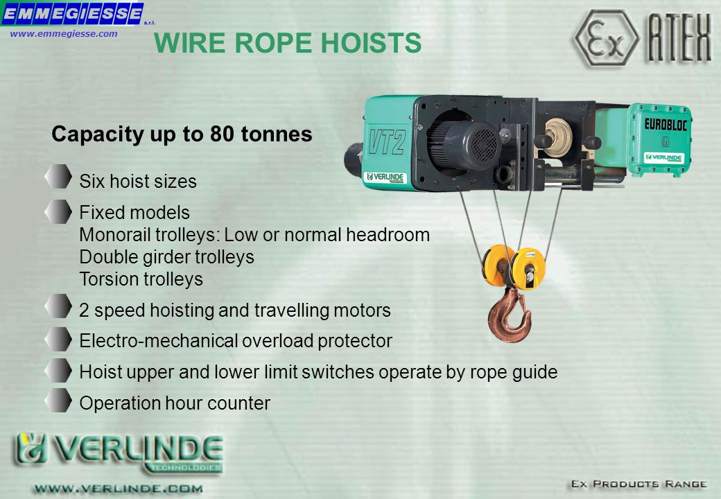 Capacity up to 80 tonnes WIRE ROPE HOISTS Six hoist sizes Fixed models Monorail trolleys: Low or normal headroom Double girder trolleys Torsion trolle