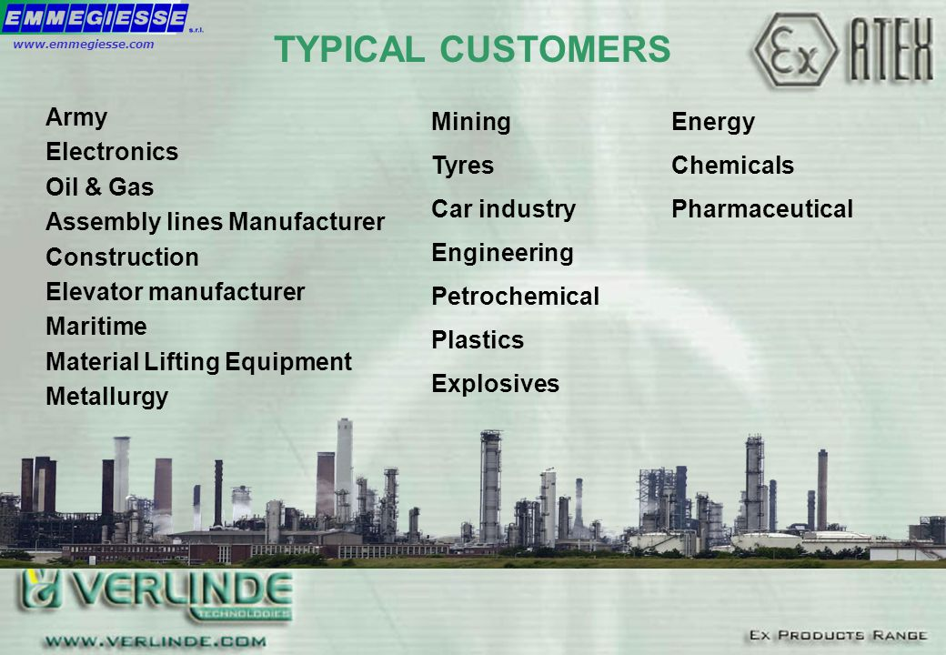 TYPICAL CUSTOMERS Army Electronics Oil & Gas Assembly lines Manufacturer Construction Elevator manufacturer Maritime Material Lifting Equipment Metall