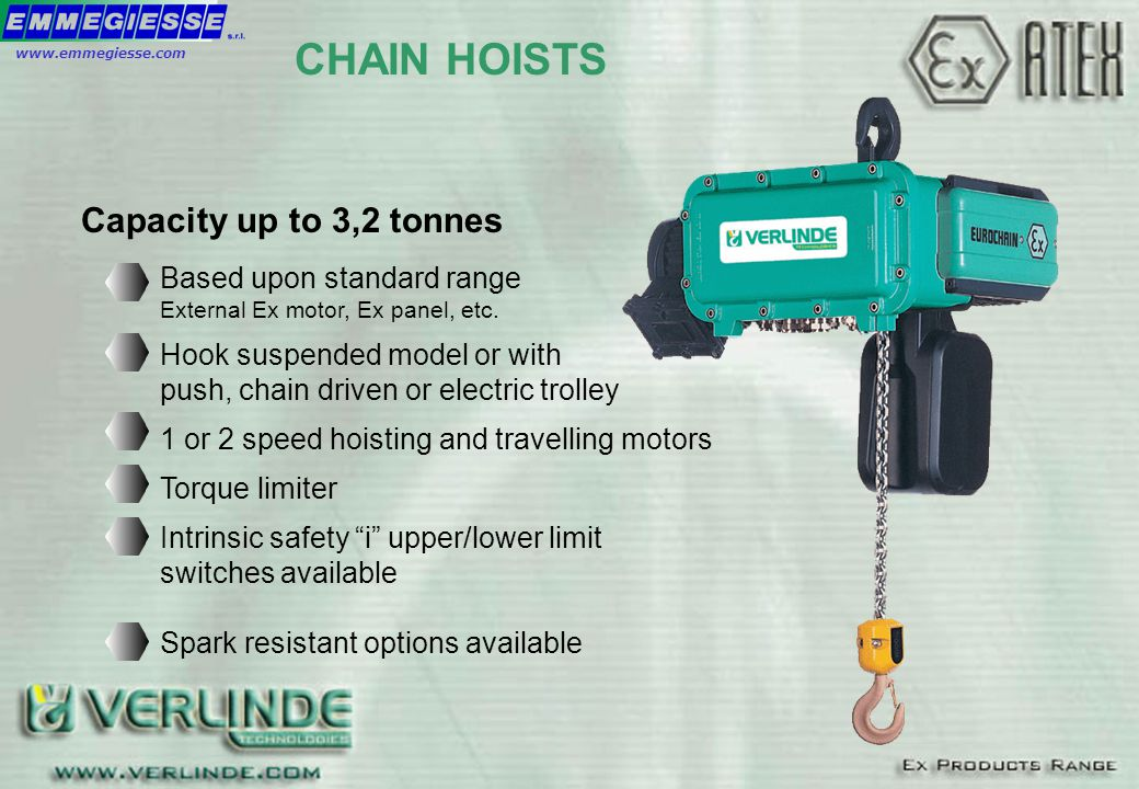 CHAIN HOISTS Based upon standard range External Ex motor, Ex panel, etc. Hook suspended model or with push, chain driven or electric trolley 1 or 2 sp