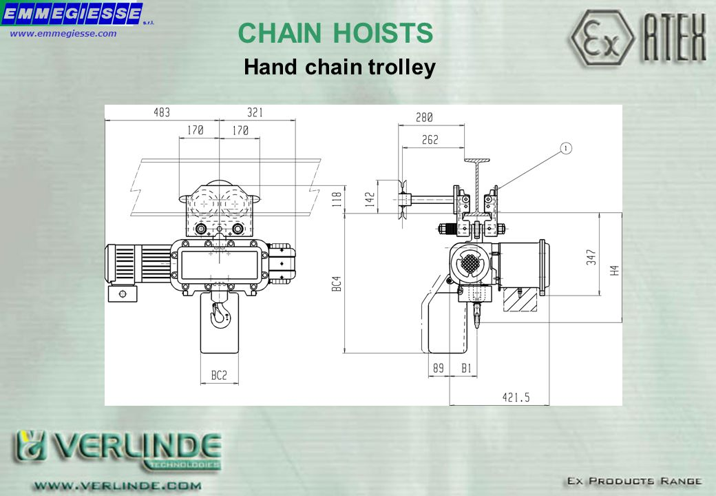 Hand chain trolley CHAIN HOISTSwww.emmegiesse.com