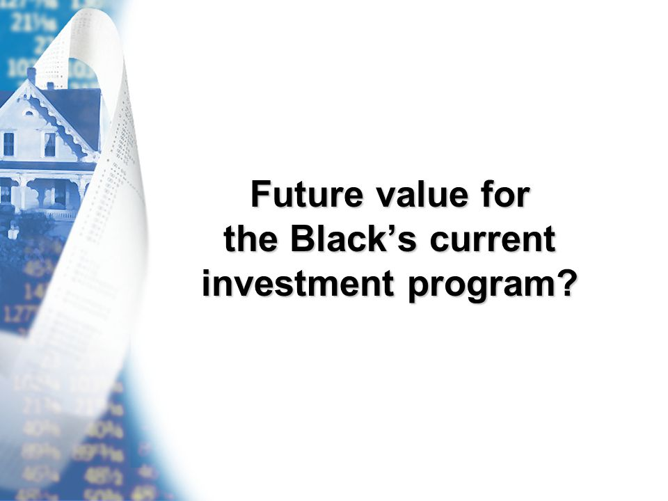 Future value for the Black's current investment program?