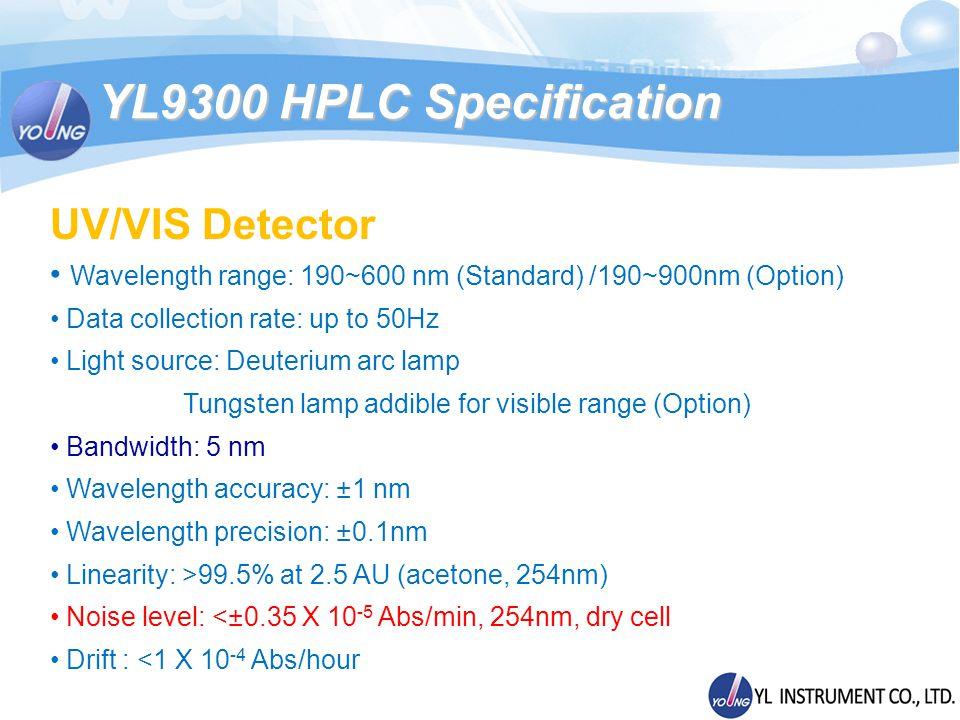 UV/VIS Detector Wavelength range: 190~600 nm (Standard) /190~900nm (Option) Data collection rate: up to 50Hz Light source: Deuterium arc lamp Tungsten