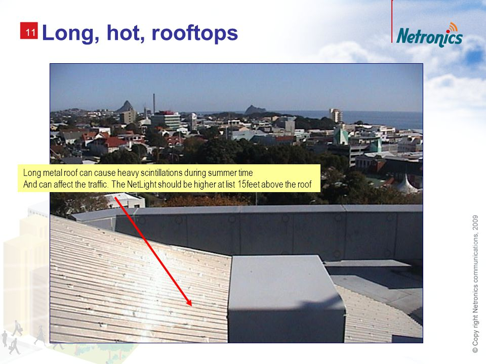 11 Long, hot, rooftops Long metal roof can cause heavy scintillations during summer time And can affect the traffic.