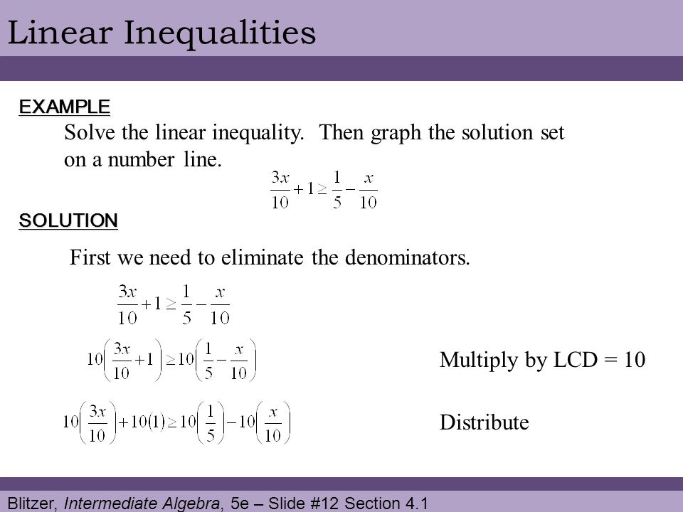 Blitzer, Intermediate Algebra, 5e – Slide #12 Section 4.1 Linear InequalitiesEXAMPLE SOLUTION Solve the linear inequality. Then graph the solution set