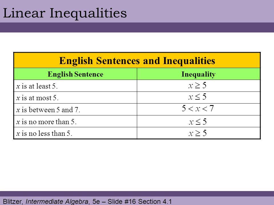 Blitzer, Intermediate Algebra, 5e – Slide #16 Section 4.1 Linear Inequalities English Sentences and Inequalities English SentenceInequality x is at le
