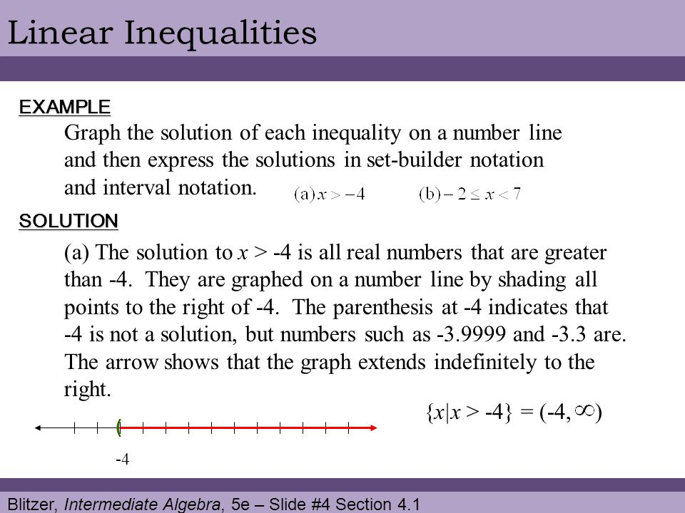 Blitzer, Intermediate Algebra, 5e – Slide #5 Section 4.1 Linear InequalitiesCONTINUED ) (b) The solution to is all real numbers that are greater than -2 and less than 7.