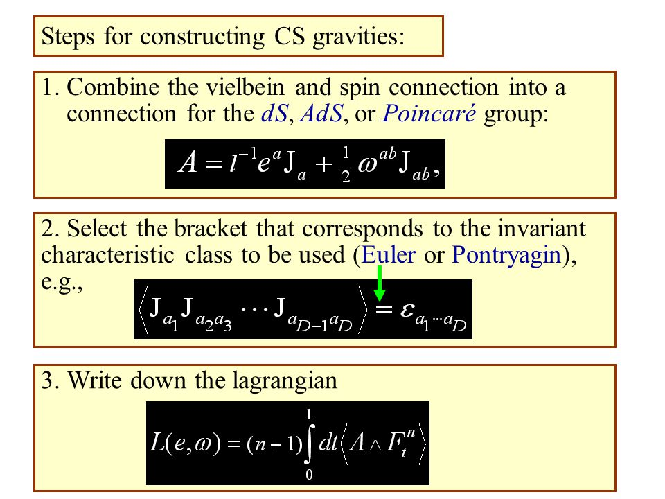 1. Combine the vielbein and spin connection into a connection for the dS, AdS, or Poincaré group: Steps for constructing CS gravities: 2. Select the b