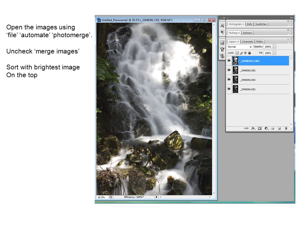 Open the images using 'file' 'automate' 'photomerge'.