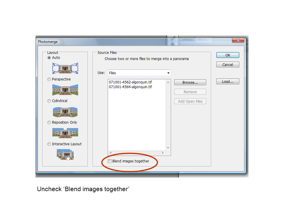 Uncheck 'Blend images together'
