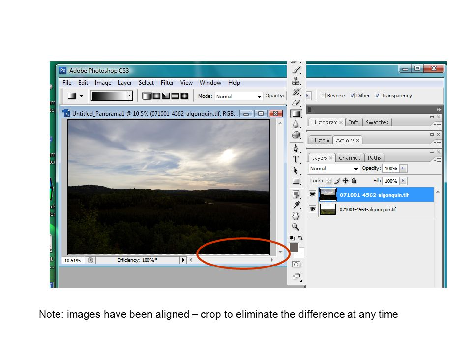 Note: images have been aligned – crop to eliminate the difference at any time