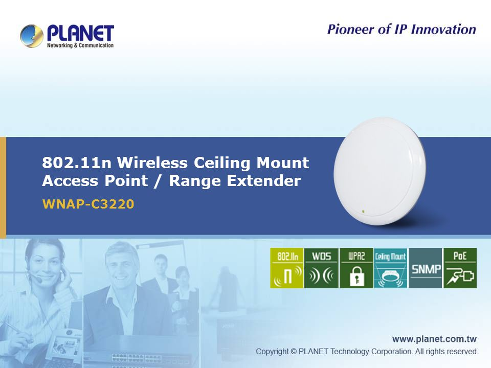 802.11n Wireless Ceiling Mount Access Point / Range Extender WNAP-C3220 Icon1