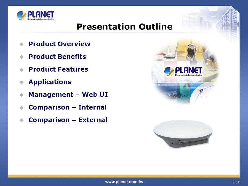 2 / 8  Product Overview  Product Benefits  Product Features  Applications  Management – Web UI  Comparison – Internal  Comparison – External Pr
