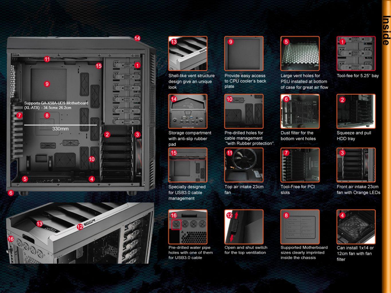 Inside Supports GA-X58A-UD9 Motherboard (XL-ATX) - 34.5cmx 26.2cm