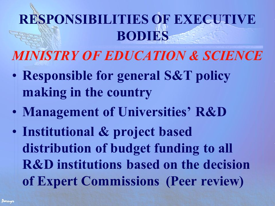 MEMBERS OF EXPERT COMMISSIONS Experts from each R&D Institution & University Scientific Councils of R&D Institutes and Universities elect experts Problems Impartiality of decision-making is questionable (conflict of interests) Need for involvement of independent experts