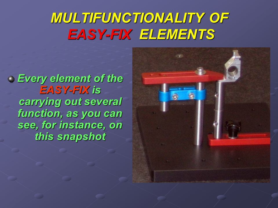 MULTIFUNCTIONALITY OF EASY-FIX ELEMENTS Every element of the EASY-FIX is carrying out several function, as you can see, for instance, on this snapshot