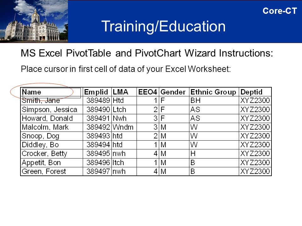 Core-CT MS Excel PivotTable and PivotChart Wizard Instructions: Place cursor in first cell of data of your Excel Worksheet: Training/Education