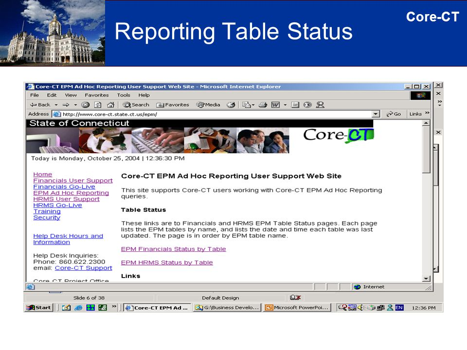 Core-CT Reporting Table Status