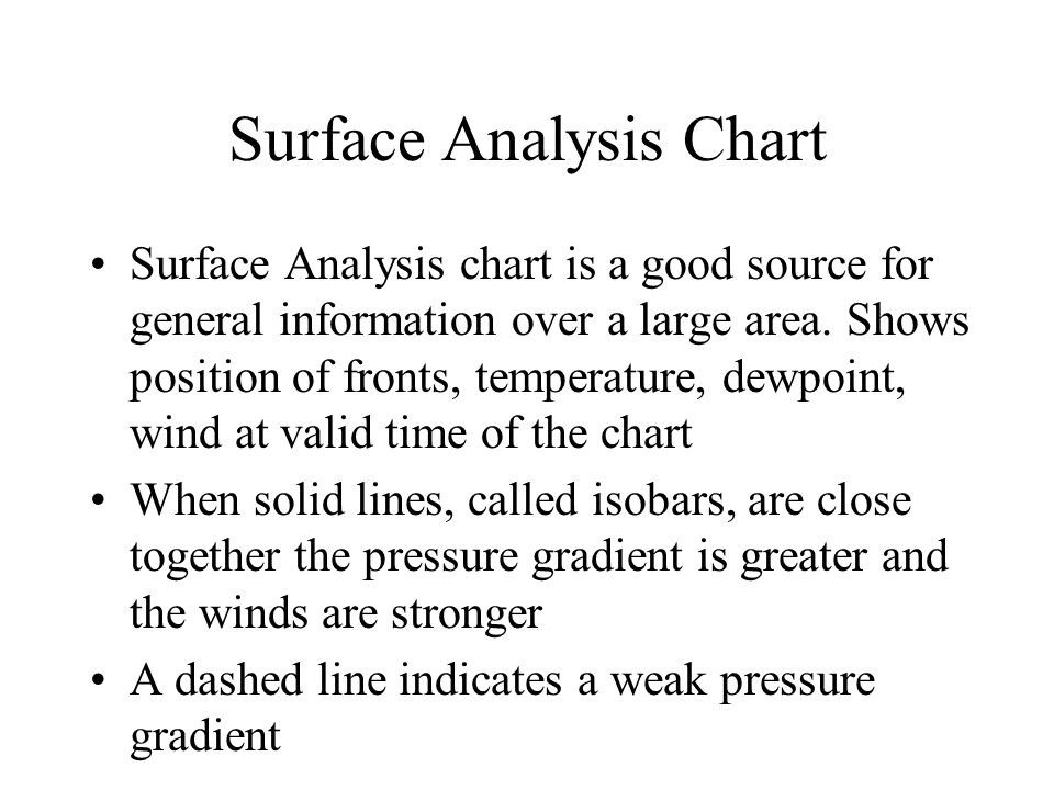 Surface Analysis Chart Surface Analysis chart is a good source for general information over a large area. Shows position of fronts, temperature, dewpo