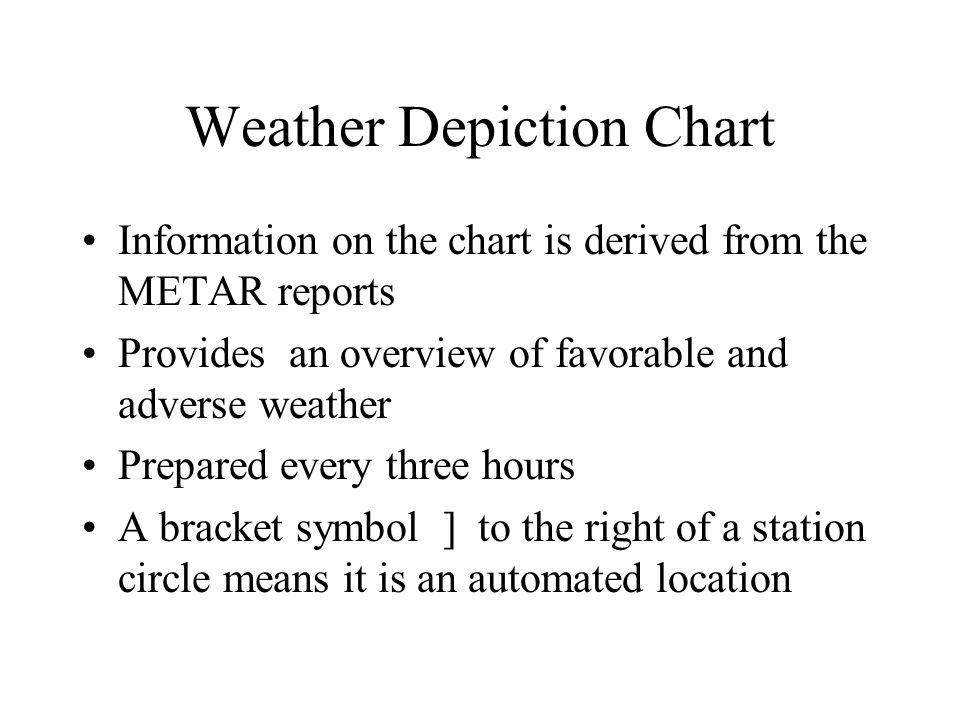 Weather Depiction Chart Information on the chart is derived from the METAR reports Provides an overview of favorable and adverse weather Prepared ever