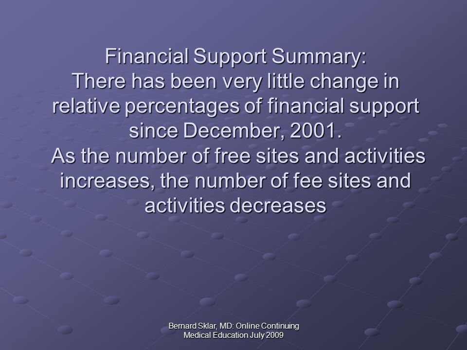 Bernard Sklar, MD: Online Continuing Medical Education July 2009 Financial Support Summary: There has been very little change in relative percentages of financial support since December, 2001.