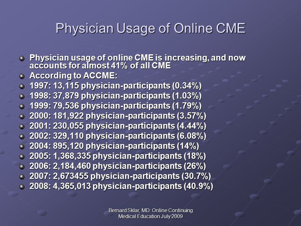 Bernard Sklar, MD: Online Continuing Medical Education July 2009 Physician Usage of Online CME Physician usage of online CME is increasing, and now accounts for almost 41% of all CME According to ACCME: 1997: 13,115 physician-participants (0.34%) 1998: 37,879 physician-participants (1.03%) 1999: 79,536 physician-participants (1.79%) 2000: 181,922 physician-participants (3.57%) 2001: 230,055 physician-participants (4.44%) 2002: 329,110 physician-participants (6.08%) 2004: 895,120 physician-participants (14%) 2005: 1,368,335 physician-participants (18%) 2006: 2,184,460 physician-participants (26%) 2007: 2,673455 physician-participants (30.7%) 2008: 4,365,013 physician-participants (40.9%)