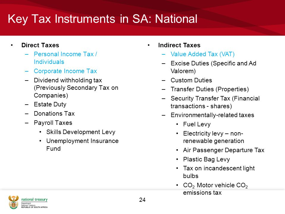 24 Key Tax Instruments in SA: National Direct Taxes –Personal Income Tax / Individuals –Corporate Income Tax –Dividend withholding tax (Previously Secondary Tax on Companies) –Estate Duty –Donations Tax –Payroll Taxes Skills Development Levy Unemployment Insurance Fund Indirect Taxes –Value Added Tax (VAT) –Excise Duties (Specific and Ad Valorem) –Custom Duties –Transfer Duties (Properties) –Security Transfer Tax (Financial transactions - shares) –Environmentally-related taxes Fuel Levy Electricity levy – non- renewable generation Air Passenger Departure Tax Plastic Bag Levy Tax on incandescent light bulbs CO 2 Motor vehicle CO 2 emissions tax