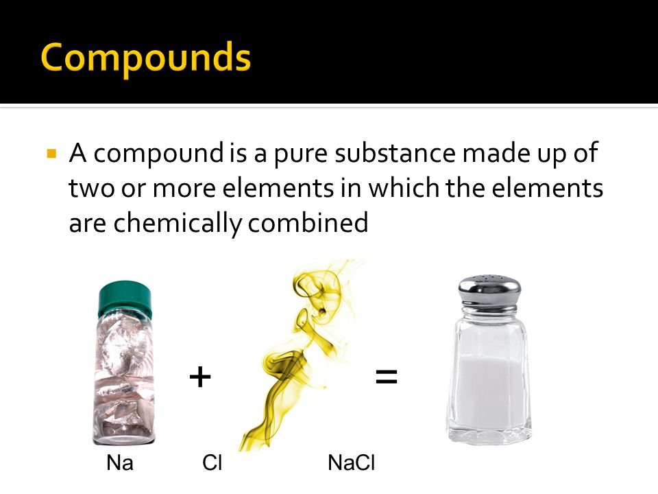 += Na Cl NaCl  A compound is a pure substance made up of two or more elements in which the elements are chemically combined