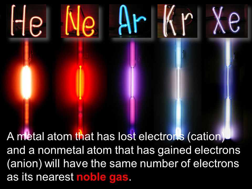 A metal atom that has lost electrons (cation) and a nonmetal atom that has gained electrons (anion) will have the same number of electrons as its near
