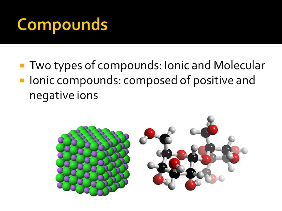 Two types of compounds: Ionic and Molecular  Ionic compounds: composed of positive and negative ions