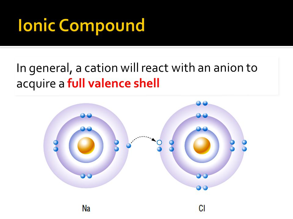 In general, a cation will react with an anion to acquire a full valence shell