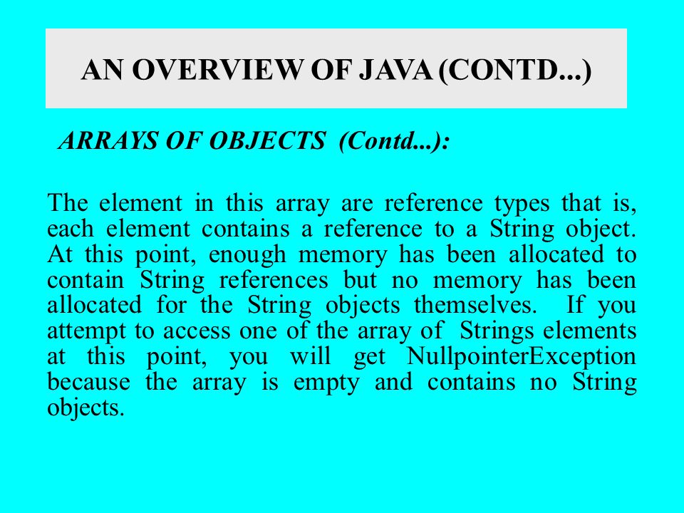 AN OVERVIEW OF JAVA (CONTD...) ARRAYS OF OBJECTS (Contd...): The element in this array are reference types that is, each element contains a reference