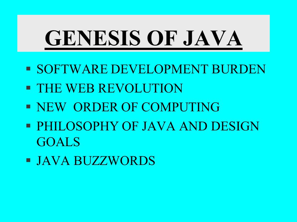 AN OVERVIEW OF JAVA (CONTD..) The System Class Member of the Java.lang package provides access to the system functionality such as standard I/O, copying arrays, getting the current date and time provides access to externally defined properties, means of loading files and libraries.