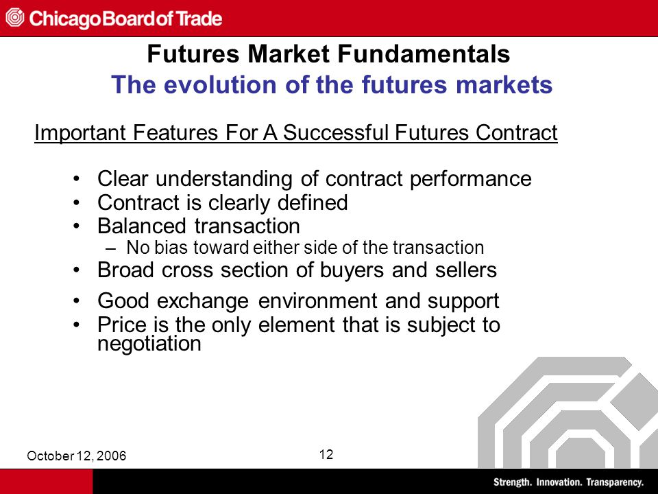 October 12, 2006 12 Futures Market Fundamentals The evolution of the futures markets Clear understanding of contract performance Contract is clearly defined Balanced transaction –No bias toward either side of the transaction Broad cross section of buyers and sellers Good exchange environment and support Price is the only element that is subject to negotiation Important Features For A Successful Futures Contract