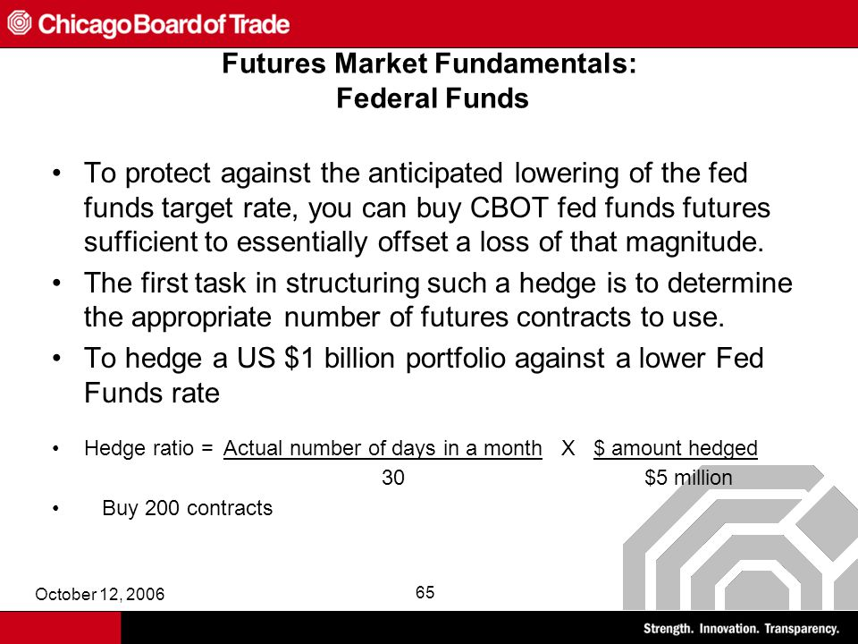October 12, 2006 65 Futures Market Fundamentals: Federal Funds To protect against the anticipated lowering of the fed funds target rate, you can buy CBOT fed funds futures sufficient to essentially offset a loss of that magnitude.