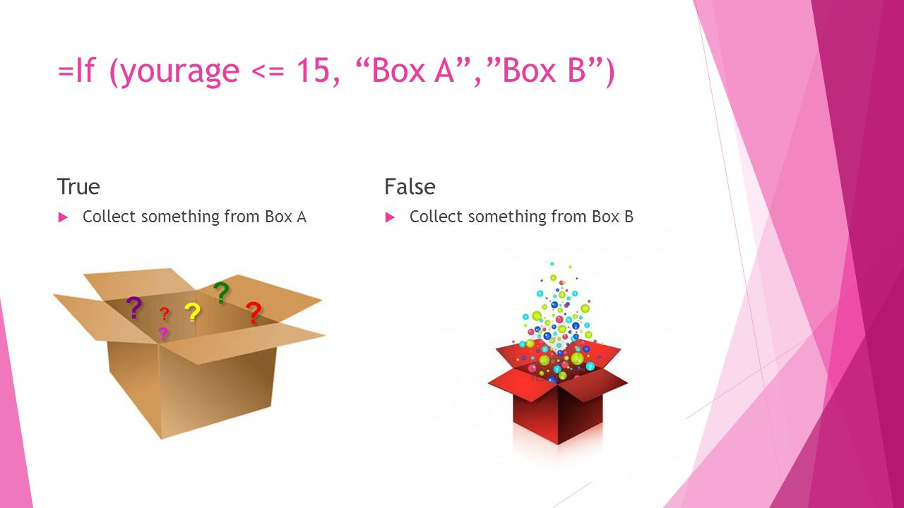 =If (yourage <= 15, Box A , Box B ) True  Collect something from Box A False  Collect something from Box B
