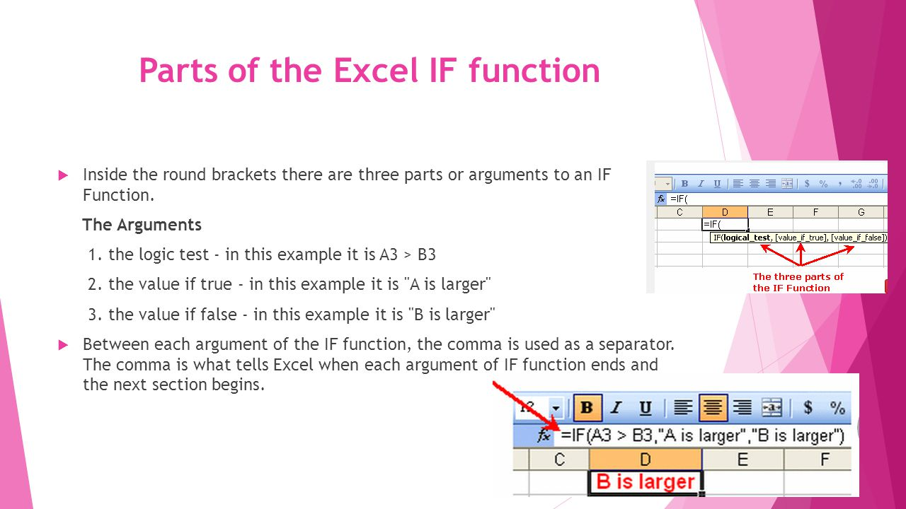 Parts of the Excel IF function  Inside the round brackets there are three parts or arguments to an IF Function.