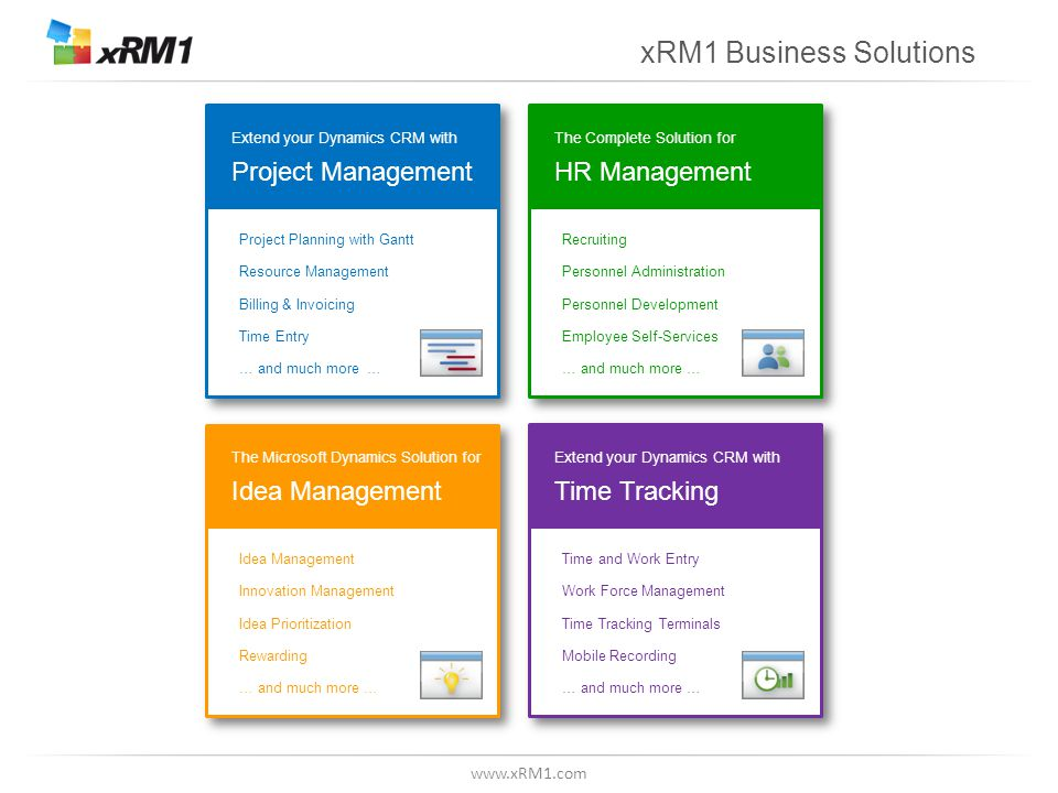 www.xRM1.com Idea Management Process Gate Phase 1 Phase 2 Phase 3 Gate Phase 4 Project Phase 5 Gate ResultsNeed Project ResultsNeed  Execute extended phases in a structured manner in projects  Flexibility about number and order of the phases  Make structured decisions about how to proceed  Holistic depiction of the idea management process