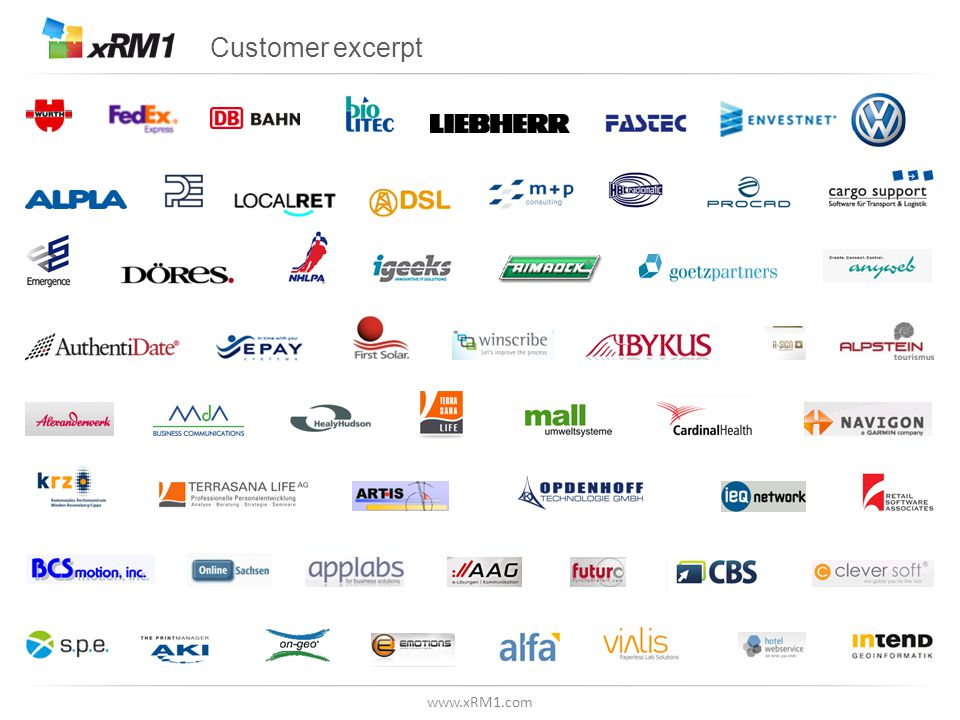 www.xRM1.com Customer excerpt