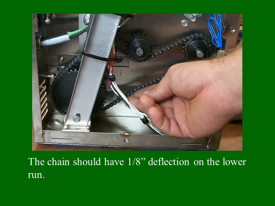 The chain should have 1/8 deflection on the lower run.
