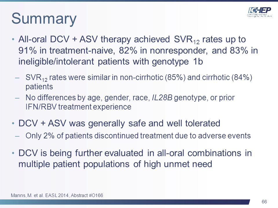66 All-oral DCV + ASV therapy achieved SVR 12 rates up to 91% in treatment-naive, 82% in nonresponder, and 83% in ineligible/intolerant patients with genotype 1b –SVR 12 rates were similar in non-cirrhotic (85%) and cirrhotic (84%) patients –No differences by age, gender, race, IL28B genotype, or prior IFN/RBV treatment experience DCV + ASV was generally safe and well tolerated –Only 2% of patients discontinued treatment due to adverse events DCV is being further evaluated in all-oral combinations in multiple patient populations of high unmet need Manns, M.