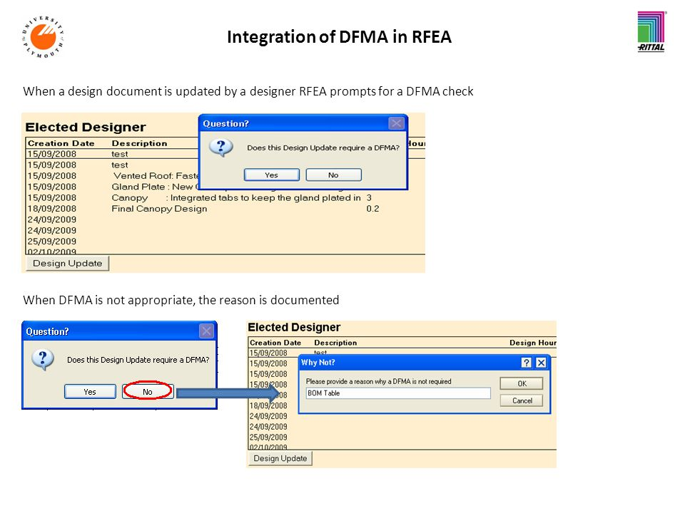 Integration of DFMA in RFEA When a design document is updated by a designer RFEA prompts for a DFMA check When DFMA is not appropriate, the reason is documented
