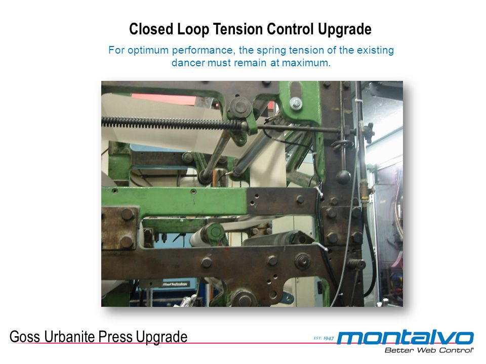 Goss Urbanite Press Upgrade Closed Loop Tension Control Upgrade For optimum performance, the spring tension of the existing dancer must remain at maxi