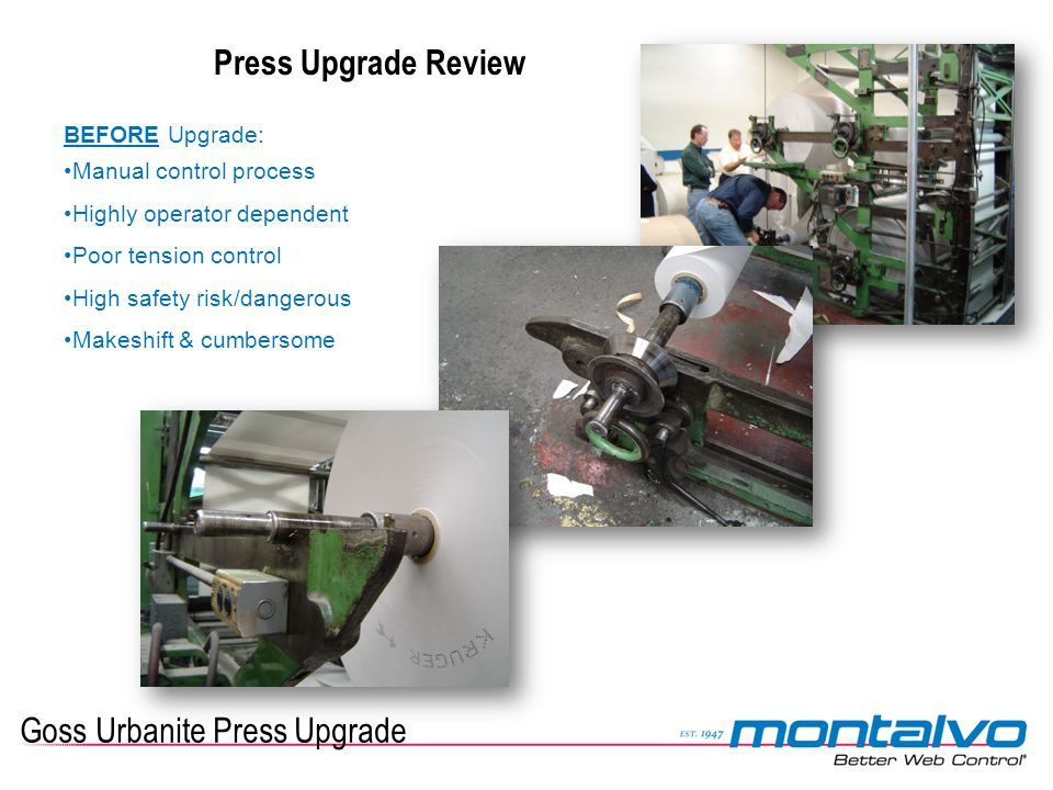 Goss Urbanite Press Upgrade Press Upgrade Review BEFORE Upgrade: Manual control process Highly operator dependent Poor tension control High safety ris
